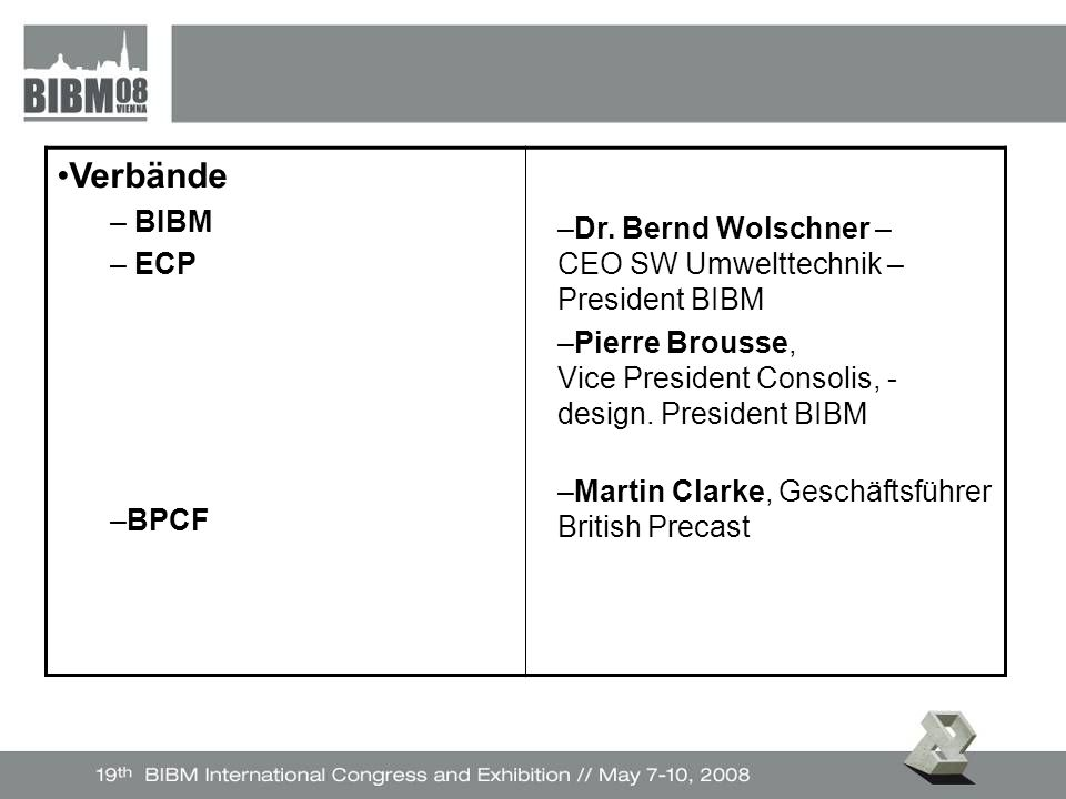 Verbände – BIBM – ECP –BPCF –Dr.