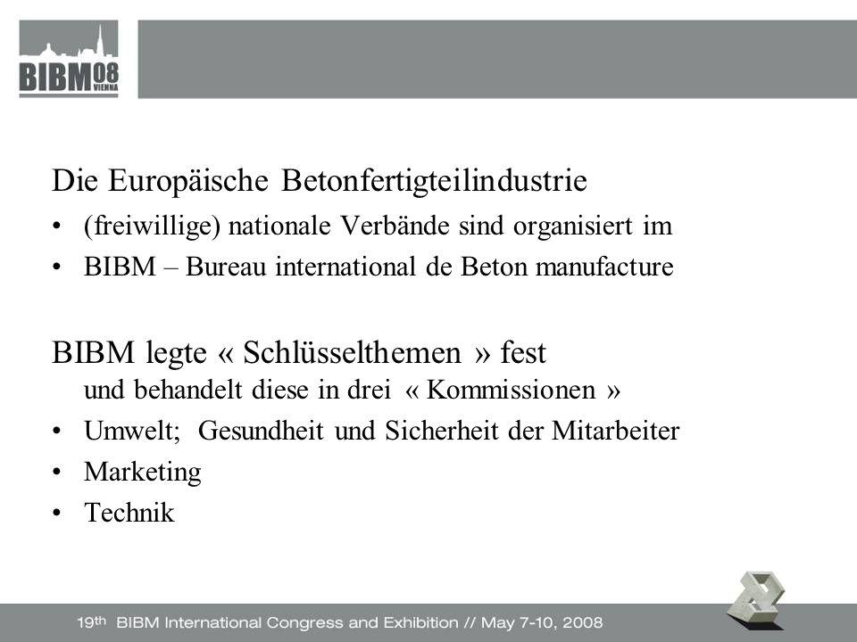 Die Europäische Betonfertigteilindustrie (freiwillige) nationale Verbände sind organisiert im BIBM – Bureau international de Beton manufacture BIBM legte « Schlüsselthemen » fest und behandelt diese in drei « Kommissionen » Umwelt; Gesundheit und Sicherheit der Mitarbeiter Marketing Technik