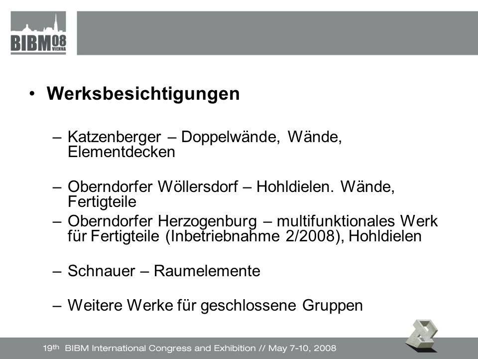 Werksbesichtigungen –Katzenberger – Doppelwände, Wände, Elementdecken –Oberndorfer Wöllersdorf – Hohldielen.