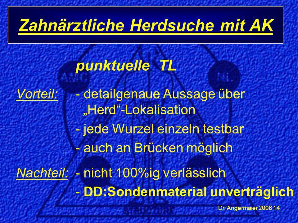"""Dr. Angermaier 2006 14 punktuelle TL Vorteil: - detailgenaue Aussage über """"Herd""""-Lokalisation - jede Wurzel einzeln testbar - auch an Brücken möglich"""