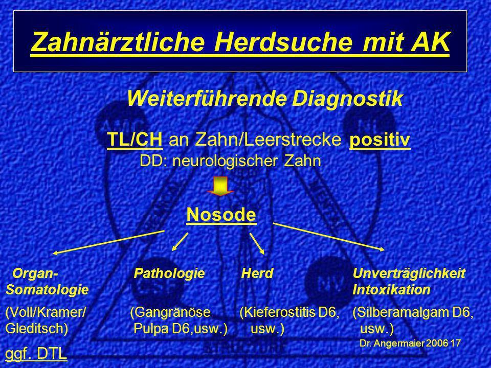 Dr. Angermaier 2006 17 Weiterführende Diagnostik TL/CH an Zahn/Leerstrecke positiv DD: neurologischer Zahn Nosode Organ- Pathologie Herd Unverträglich