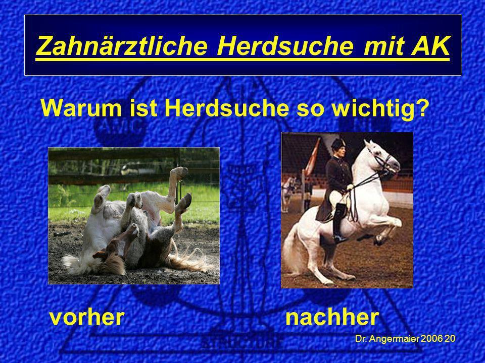 Dr. Angermaier 2006 20 Warum ist Herdsuche so wichtig? vorher nachher Zahnärztliche Herdsuche mit AK