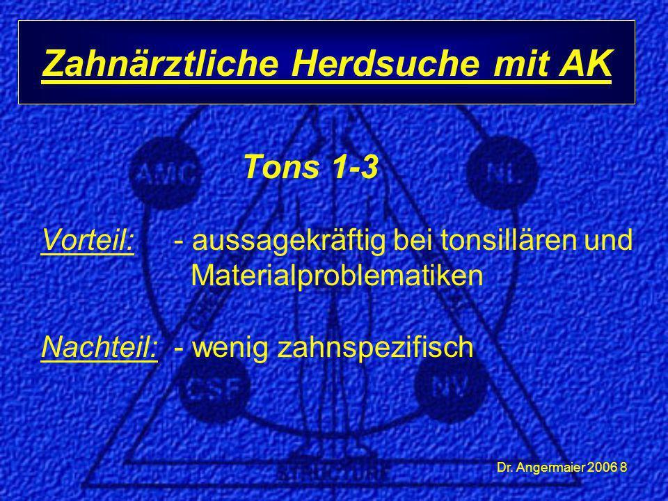 Dr. Angermaier 2006 8 Tons 1-3 Vorteil: - aussagekräftig bei tonsillären und Materialproblematiken Nachteil:- wenig zahnspezifisch Zahnärztliche Herds