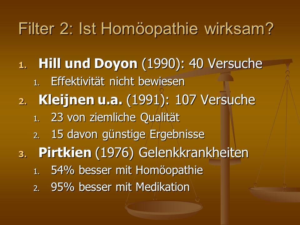 Filter 2: Ist Homöopathie wirksam. 1. Hill und Doyon (1990): 40 Versuche 1.