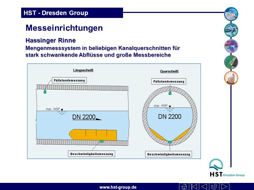 www.hst-group.de HST - Dresden Group Messeinrichtungen Hassinger Rinne Mengenmesssystem in beliebigen Kanalquerschnitten für stark schwankende Abflüsse und große Messbereiche