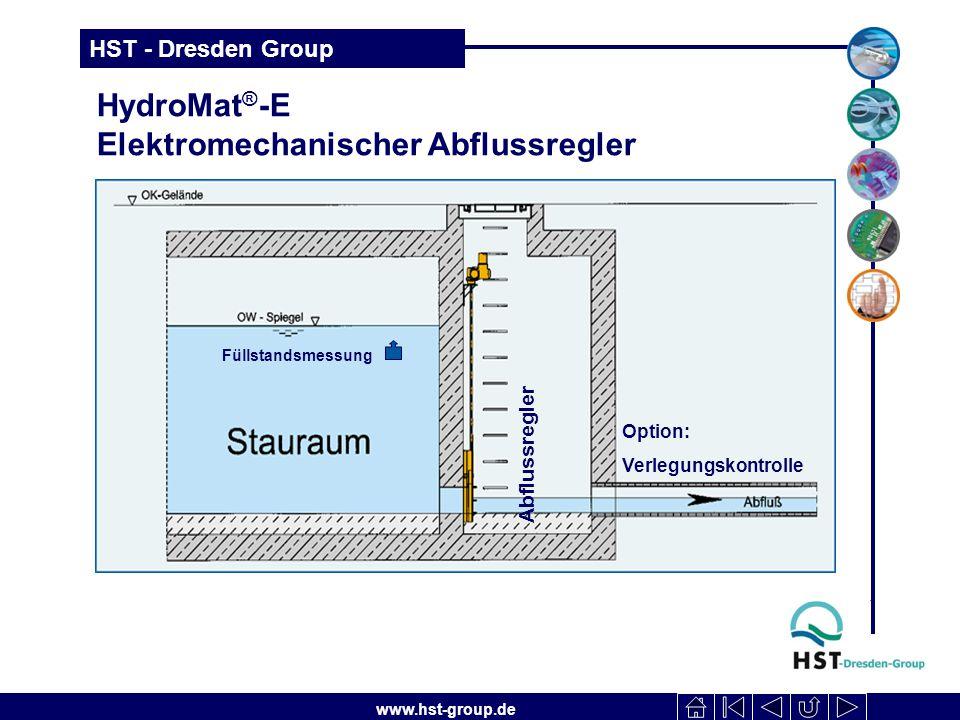 www.hst-group.de HST - Dresden Group HydroMat ® -E Elektromechanischer Abflussregler Abflussregler Füllstandsmessung Option: Verlegungskontrolle