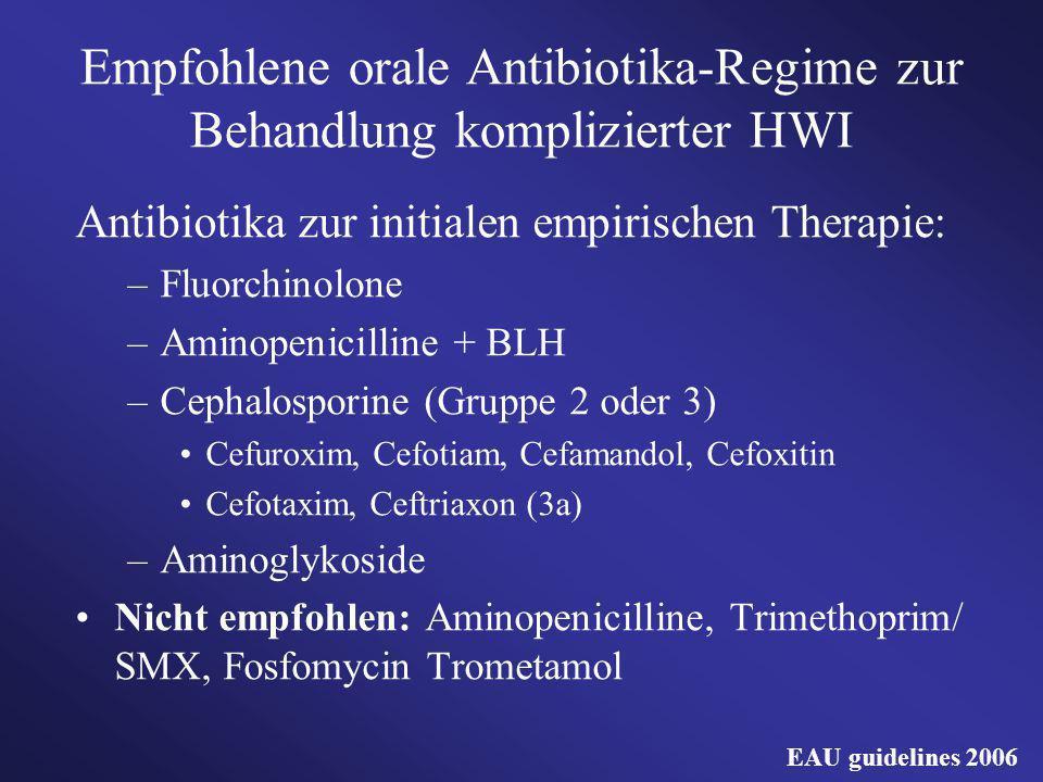 Empfohlene orale Antibiotika-Regime zur Behandlung komplizierter HWI Antibiotika zur initialen empirischen Therapie: –Fluorchinolone –Aminopenicilline