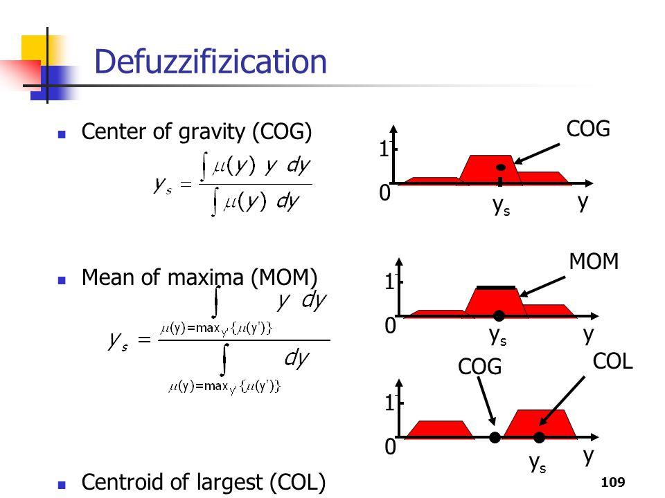 109 Defuzzifizication Center of gravity (COG) Mean of maxima (MOM) Centroid of largest (COL) y 1 0 COG ysys y 1 0 MOM ysys y 1 0 COL ysys COG