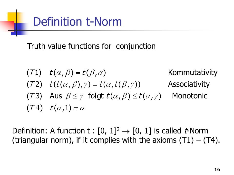 16 Definition t-Norm Definition: A function t : [0, 1] 2  [0, 1] is called t-Norm (triangular norm), if it complies with the axioms (T1) – (T4).