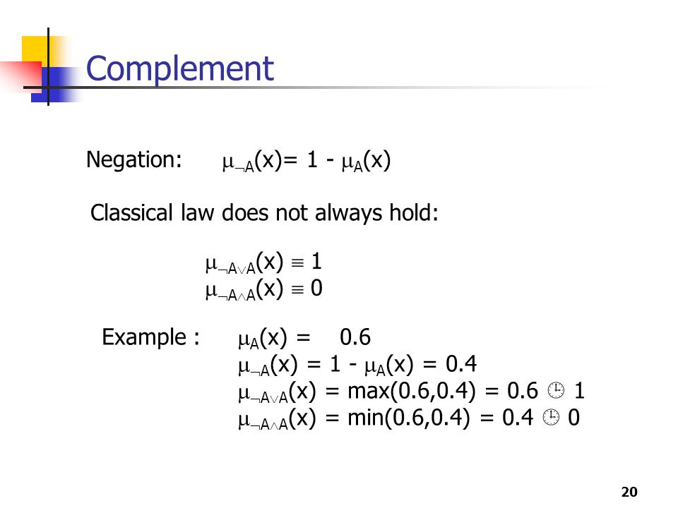 20 Complement Negation:   A (x)= 1 -  A (x)   A  A (x)  1   A  A (x)  0 Classical law does not always hold: Example :  A (x) = 0.6   A (x) = 1 -  A (x) = 0.4   A  A (x) = max(0.6,0.4) = 0.6  1   A  A (x) = min(0.6,0.4) = 0.4  0