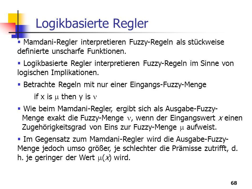 68 Logikbasierte Regler  Mamdani-Regler interpretieren Fuzzy-Regeln als stückweise definierte unscharfe Funktionen.