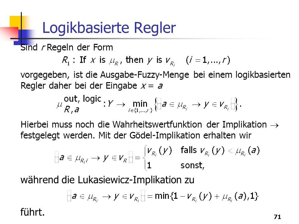 71 Logikbasierte Regler Sind r Regeln der Form vorgegeben, ist die Ausgabe-Fuzzy-Menge bei einem logikbasierten Regler daher bei der Eingabe x = a Hierbei muss noch die Wahrheitswertfunktion der Implikation  festgelegt werden.