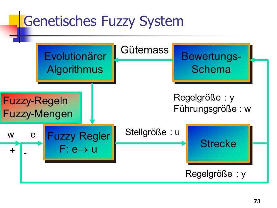 73 Genetisches Fuzzy System Evolutionärer Algorithmus Evolutionärer Algorithmus Bewertungs- Schema Bewertungs- Schema Strecke Fuzzy Regler F: e  u Fuzzy Regler F: e  u Stellgröße : u Gütemass Regelgröße : y Führungsgröße : w Fuzzy-Regeln Fuzzy-Mengen Regelgröße : y w - + e