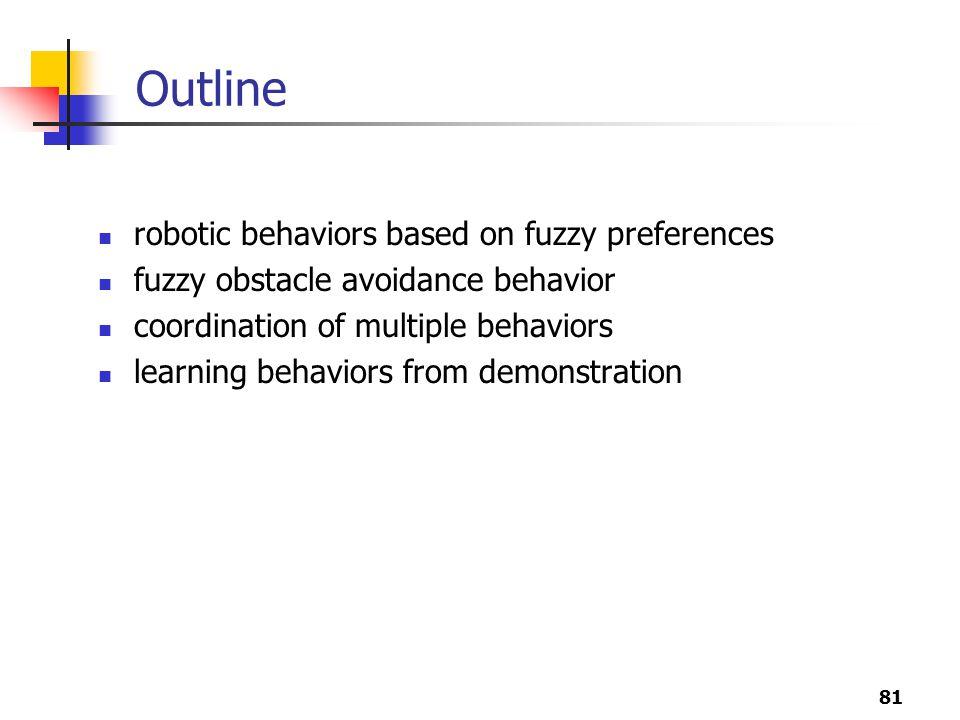 81 Outline robotic behaviors based on fuzzy preferences fuzzy obstacle avoidance behavior coordination of multiple behaviors learning behaviors from demonstration