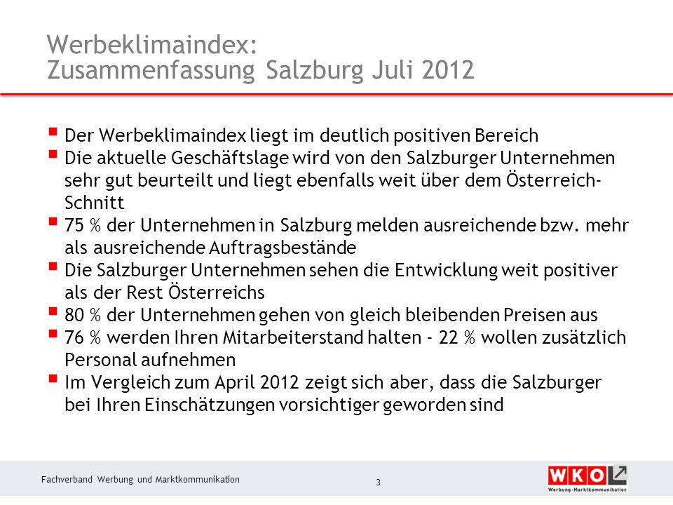 Fachverband Werbung und Marktkommunikation Werbeklimaindex: Zusammenfassung Salzburg Juli 2012  Der Werbeklimaindex liegt im deutlich positiven Berei