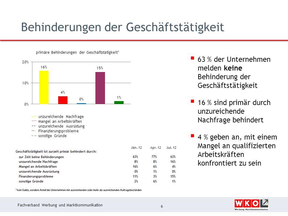 Fachverband Werbung und Marktkommunikation Behinderungen der Geschäftstätigkeit 6 unzureichende Nachfrage Mangel an Arbeitskräften unzureichende Ausrü