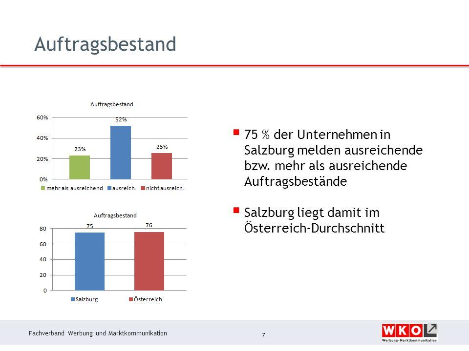 Fachverband Werbung und Marktkommunikation Auftragsbestand 7  75 % der Unternehmen in Salzburg melden ausreichende bzw. mehr als ausreichende Auftrag