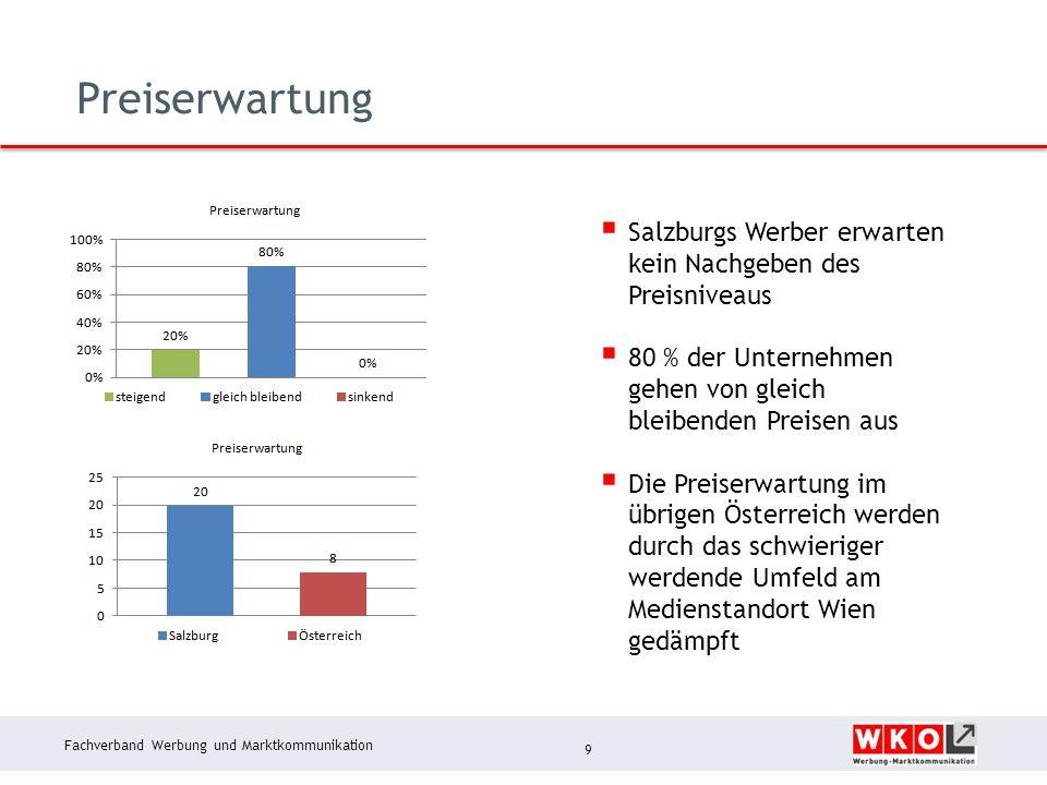Fachverband Werbung und Marktkommunikation Preiserwartung 9  Salzburgs Werber erwarten kein Nachgeben des Preisniveaus  80 % der Unternehmen gehen von gleich bleibenden Preisen aus  Die Preiserwartung im übrigen Österreich werden durch das schwieriger werdende Umfeld am Medienstandort Wien gedämpft