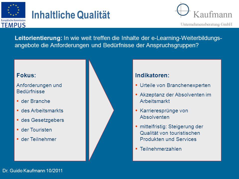 Dr. Guido Kaufmann 10/2011 Inhaltliche Qualität Fokus: Anforderungen und Bedürfnisse  der Branche  des Arbeitsmarkts  des Gesetzgebers  der Touris
