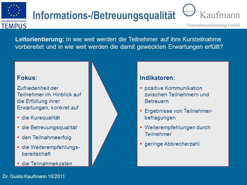 Dr. Guido Kaufmann 10/2011 Informations-/Betreuungsqualität Fokus: Zufriedenheit der Teilnehmer im Hinblick auf die Erfüllung ihrer Erwartungen, konkr