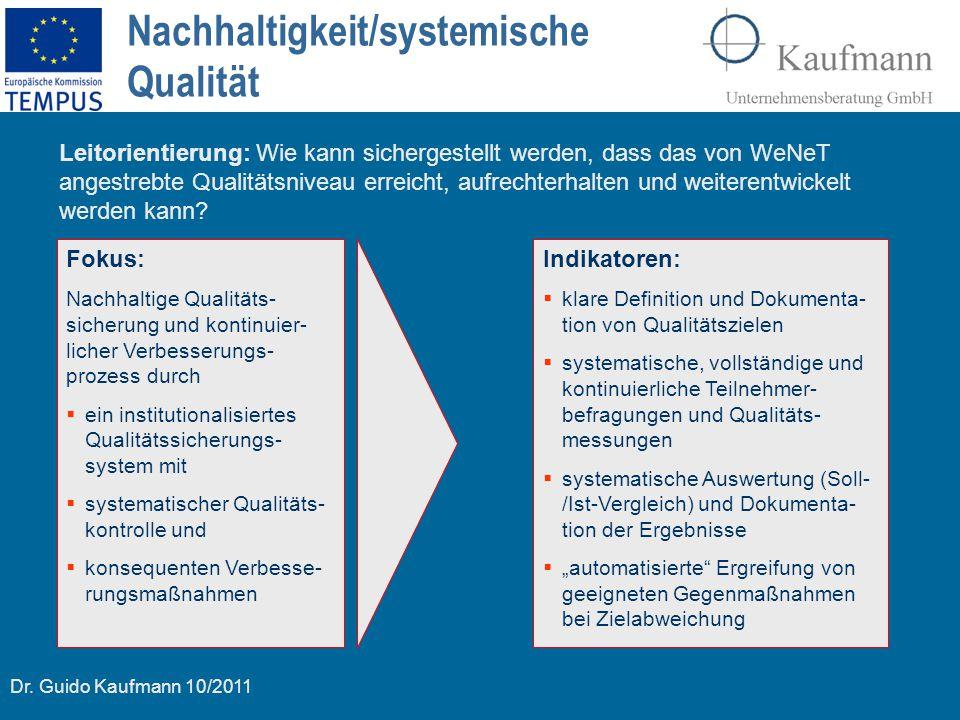 Dr. Guido Kaufmann 10/2011 Nachhaltigkeit/systemische Qualität Fokus: Nachhaltige Qualitäts- sicherung und kontinuier- licher Verbesserungs- prozess d