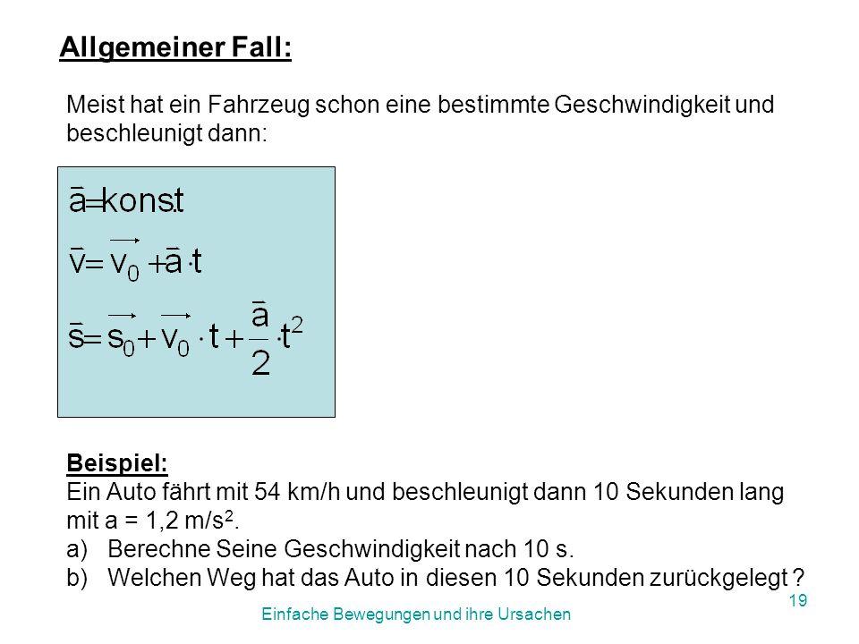 Einfache Bewegungen und ihre Ursachen 18 Wir erhalten so für die gleichmäßig beschleunigte Bewegung: Beispiel: Das Spaceshuttle beschleunigte in 1min 40 s auf Mach 3.