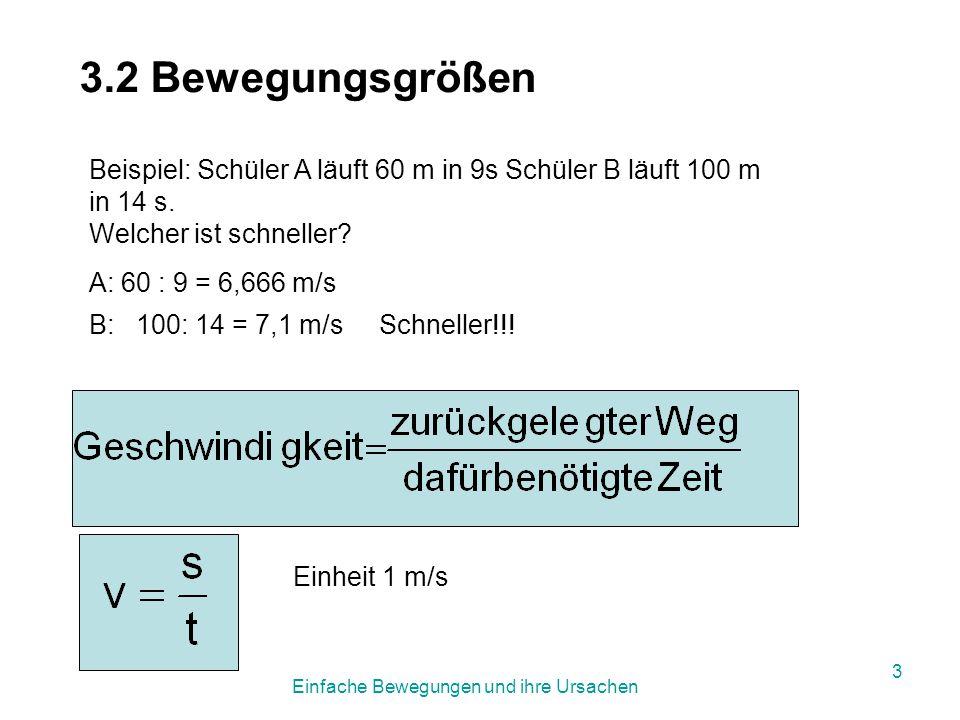 Einfache Bewegungen und ihre Ursachen 13 s ü = s 1 + l 1 + s 2 + l 2 + v 1 · t ü Überholstrecke s 1...