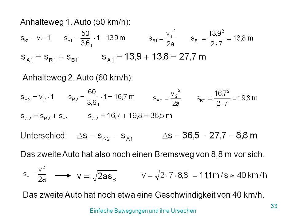 Einfache Bewegungen und ihre Ursachen 32 Arbeite im Verkehrsheft Seite 12 das Beispiel zur Verkehrssituation durch!