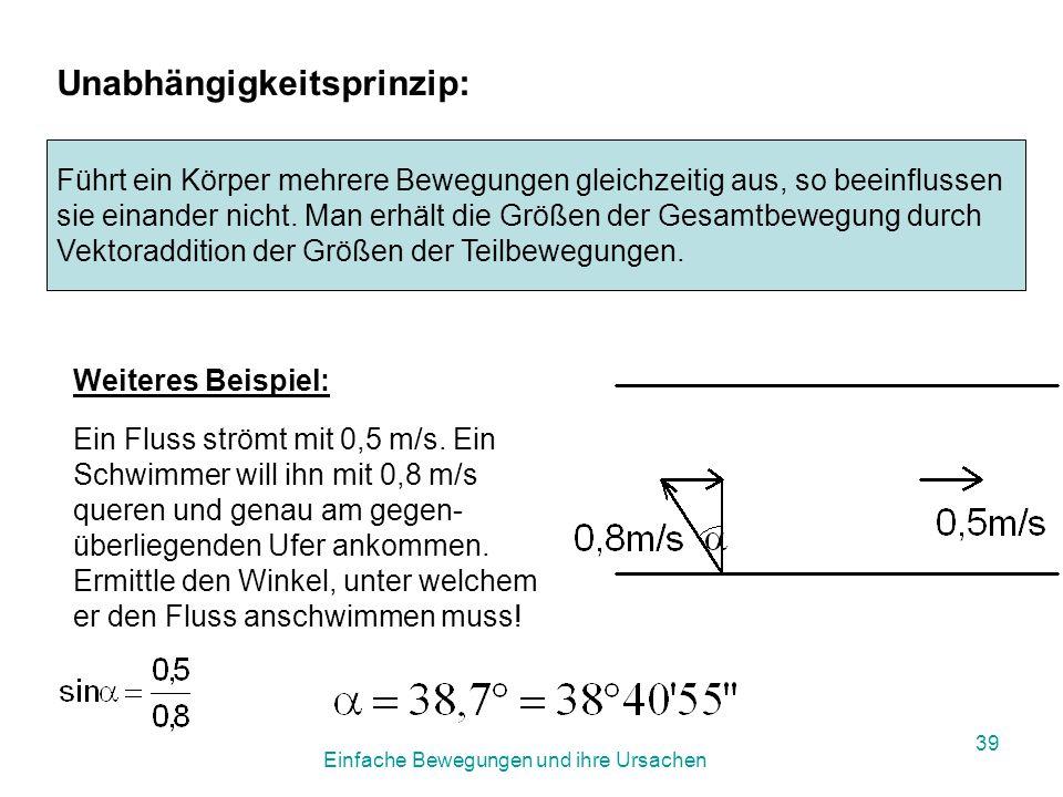 Einfache Bewegungen und ihre Ursachen 38 Horizontal: Gleichförmige Translation: x = v x · t Vertikal: Freier Fall: Geschwindigkeit beim horizontalen Wurf: Gib im TI 83 ein: Mode Par (statt Func) Dann bei Y= ….