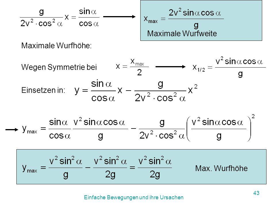 Einfache Bewegungen und ihre Ursachen 42 Wurfbewegung Wurfweite: y = 0 x 1 = 0 triviale Lösung (Start)