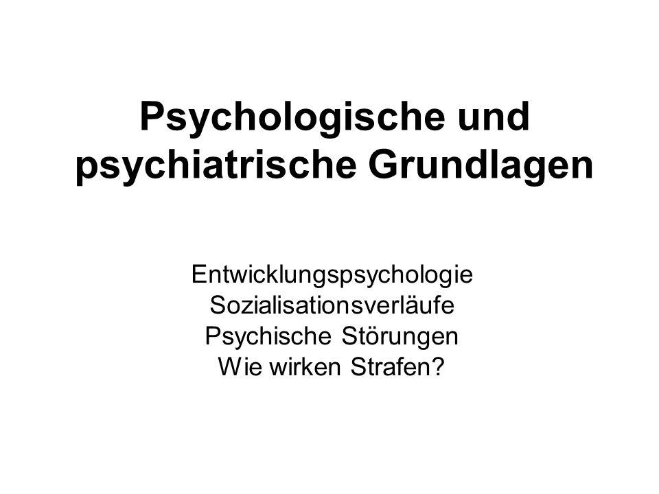 Psychologische und psychiatrische Grundlagen Entwicklungspsychologie Sozialisationsverläufe Psychische Störungen Wie wirken Strafen?