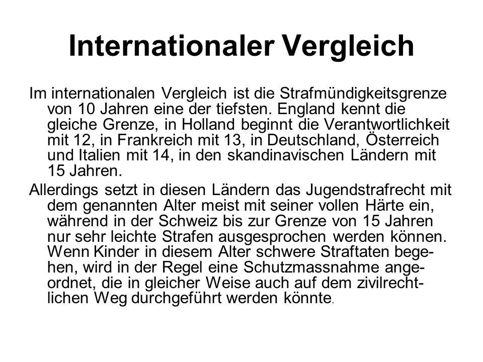 Internationaler Vergleich Im internationalen Vergleich ist die Strafmündigkeitsgrenze von 10 Jahren eine der tiefsten. England kennt die gleiche Grenz