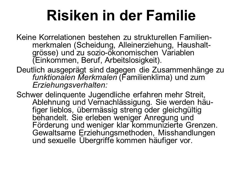 Risiken in der Familie Keine Korrelationen bestehen zu strukturellen Familien- merkmalen (Scheidung, Alleinerziehung, Haushalt- grösse) und zu sozio-ö