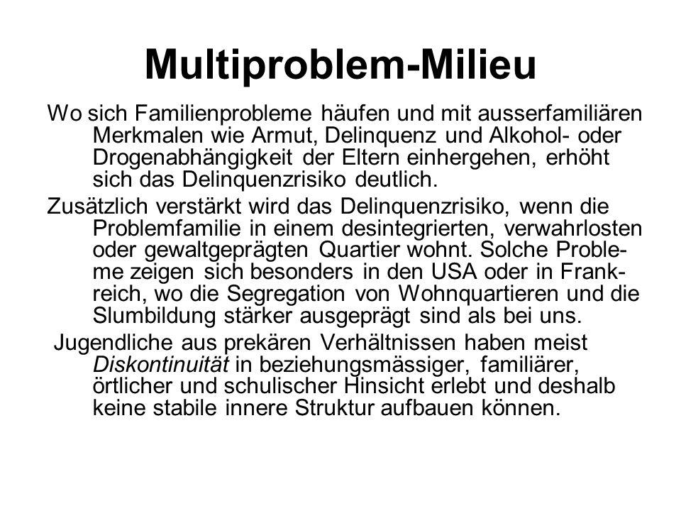 Multiproblem-Milieu Wo sich Familienprobleme häufen und mit ausserfamiliären Merkmalen wie Armut, Delinquenz und Alkohol- oder Drogenabhängigkeit der