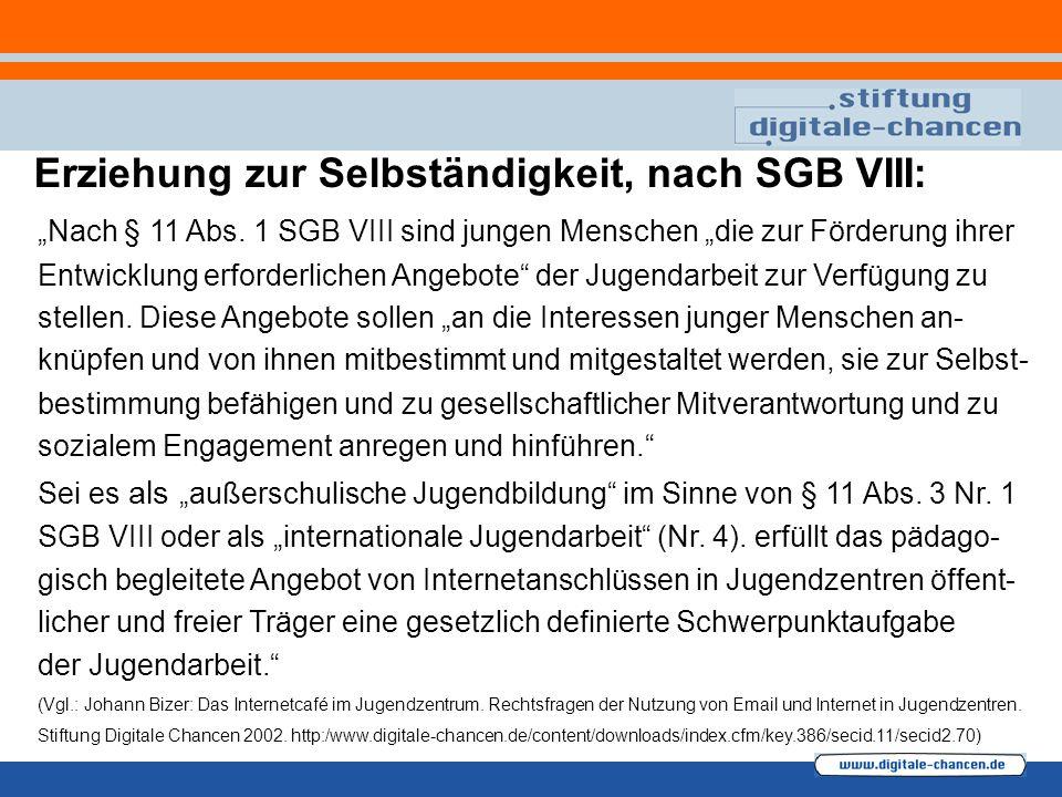"""""""Nach § 11 Abs. 1 SGB VIII sind jungen Menschen """"die zur Förderung ihrer Entwicklung erforderlichen Angebote"""" der Jugendarbeit zur Verfügung zu stelle"""