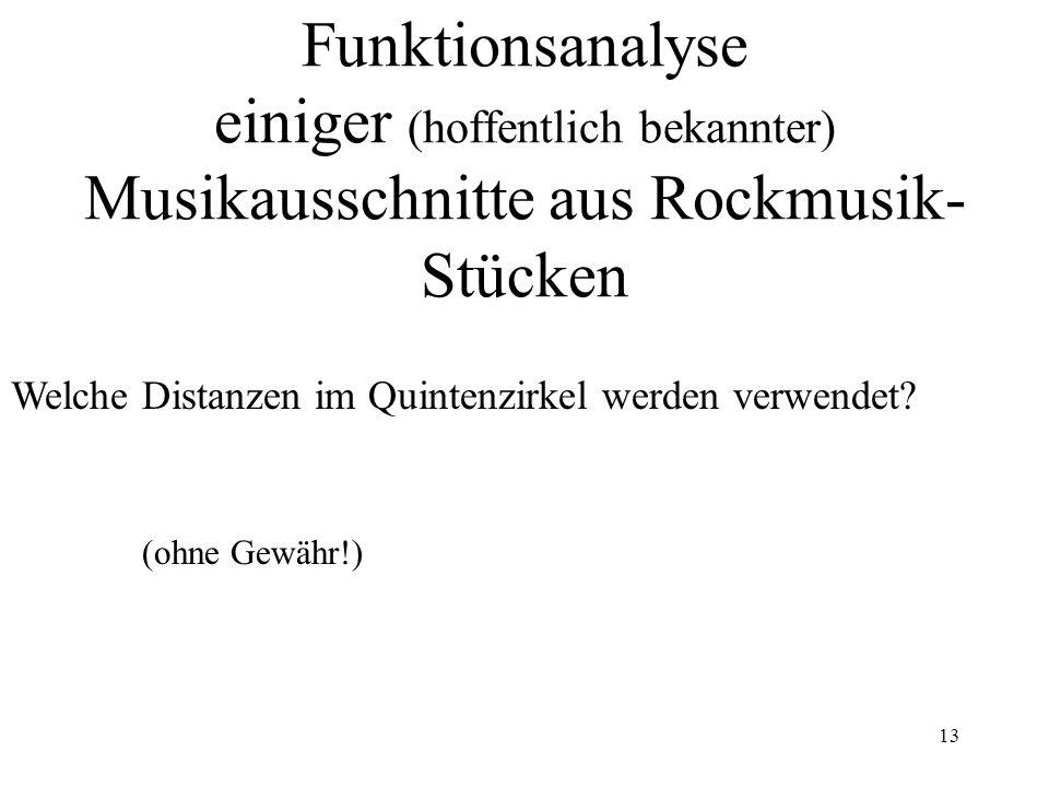 13 Funktionsanalyse einiger (hoffentlich bekannter) Musikausschnitte aus Rockmusik- Stücken (ohne Gewähr!) Welche Distanzen im Quintenzirkel werden ve