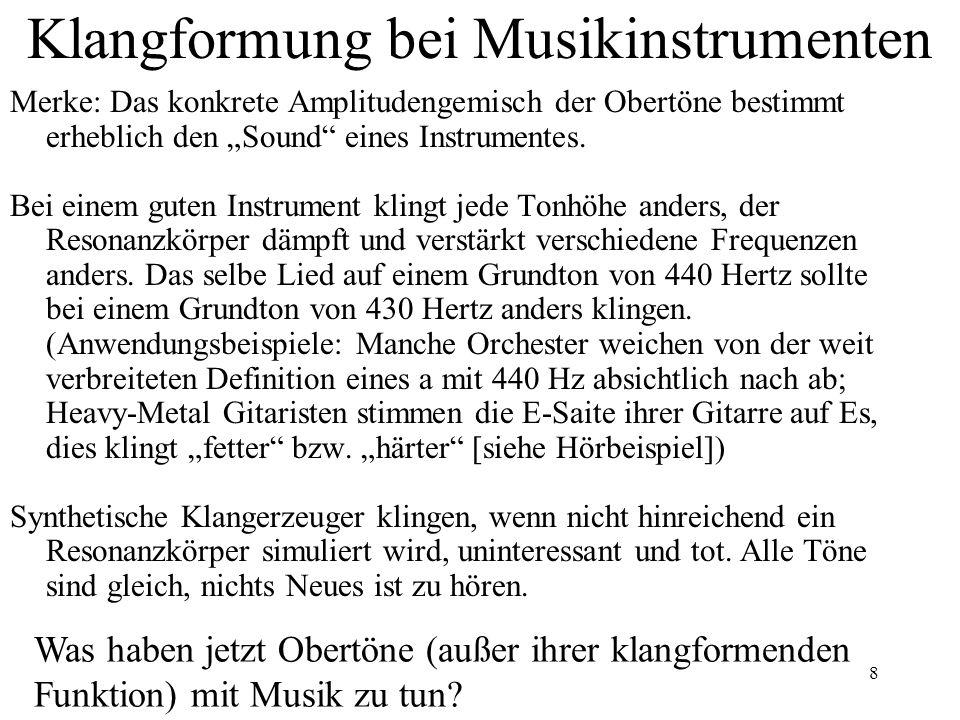 """8 Klangformung bei Musikinstrumenten Merke: Das konkrete Amplitudengemisch der Obertöne bestimmt erheblich den """"Sound"""" eines Instrumentes. Bei einem g"""
