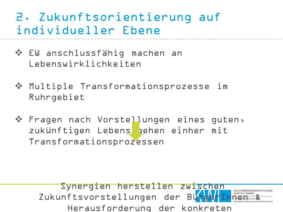 2. Zukunftsorientierung auf individueller Ebene  EW anschlussfähig machen an Lebenswirklichkeiten  Multiple Transformationsprozesse im Ruhrgebiet 