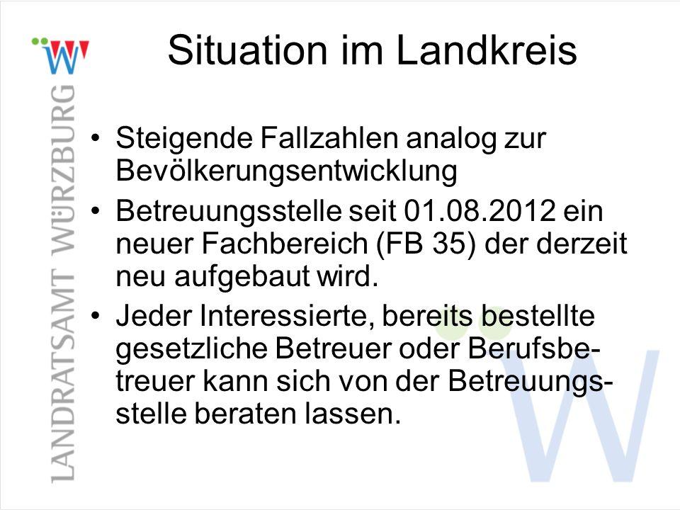 Situation im Landkreis Steigende Fallzahlen analog zur Bevölkerungsentwicklung Betreuungsstelle seit 01.08.2012 ein neuer Fachbereich (FB 35) der derz