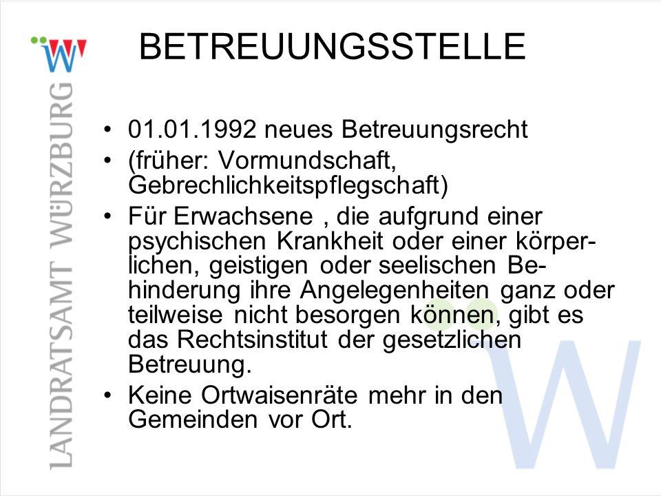 BETREUUNGSSTELLE 01.01.1992 neues Betreuungsrecht (früher: Vormundschaft, Gebrechlichkeitspflegschaft) Für Erwachsene, die aufgrund einer psychischen