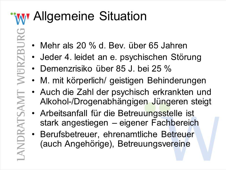 Allgemeine Situation Mehr als 20 % d. Bev. über 65 Jahren Jeder 4. leidet an e. psychischen Störung Demenzrisiko über 85 J. bei 25 % M. mit körperlich