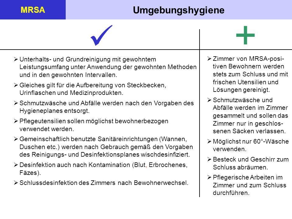Umgebungshygiene MRSA +  Unterhalts- und Grundreinigung mit gewohntem Leistungsumfang unter Anwendung der gewohnten Methoden und in den gewohnten Int