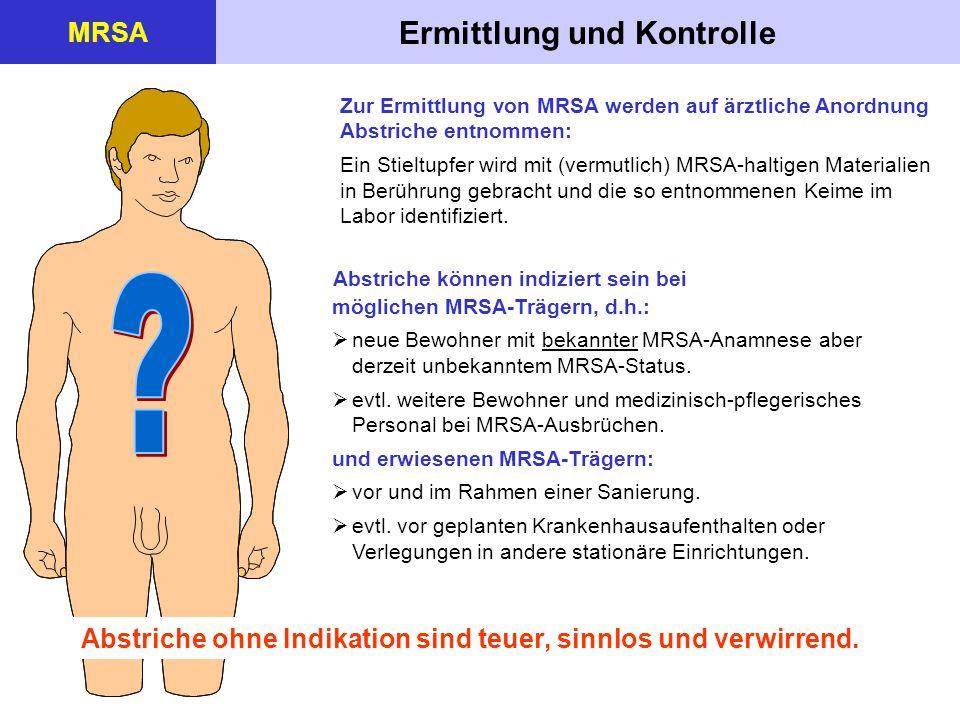 Ermittlung und Kontrolle MRSA Zur Ermittlung von MRSA werden auf ärztliche Anordnung Abstriche entnommen: Ein Stieltupfer wird mit (vermutlich) MRSA-h