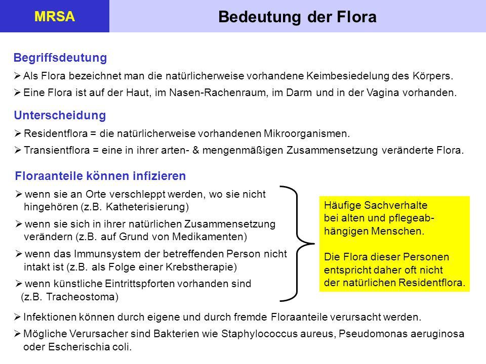 Bedeutung der Flora Floraanteile können infizieren  wenn sie an Orte verschleppt werden, wo sie nicht hingehören (z.B. Katheterisierung)  wenn sie s