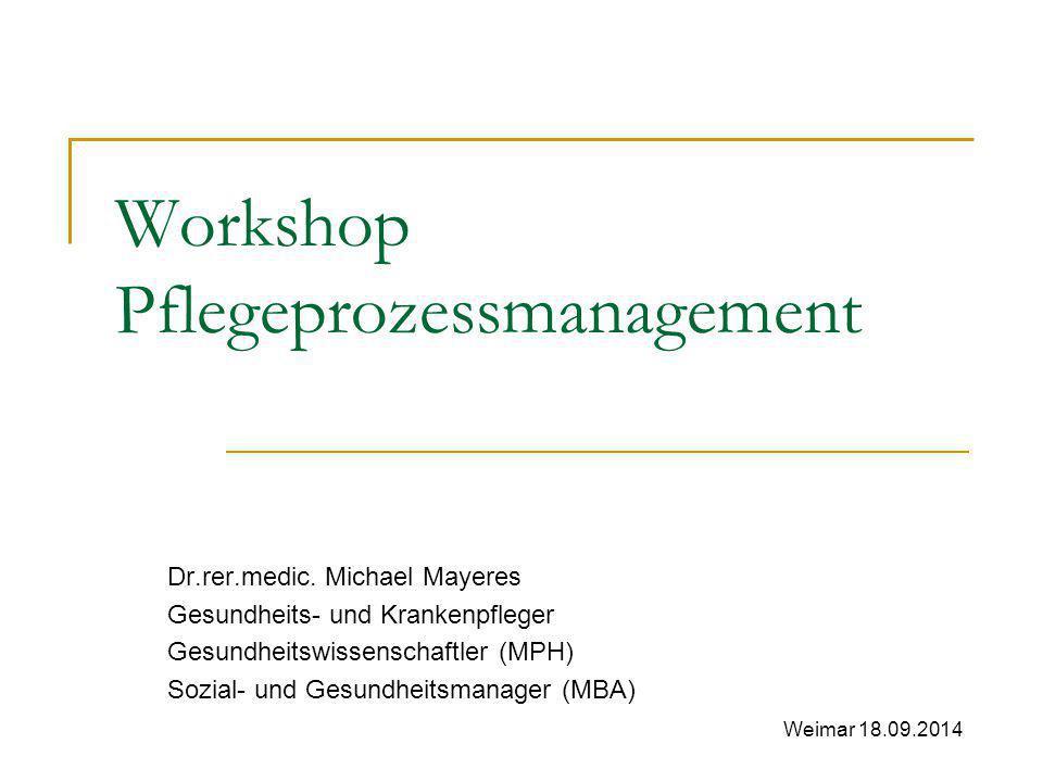 Workshop Pflegeprozessmanagement Dr.rer.medic. Michael Mayeres Gesundheits- und Krankenpfleger Gesundheitswissenschaftler (MPH) Sozial- und Gesundheit