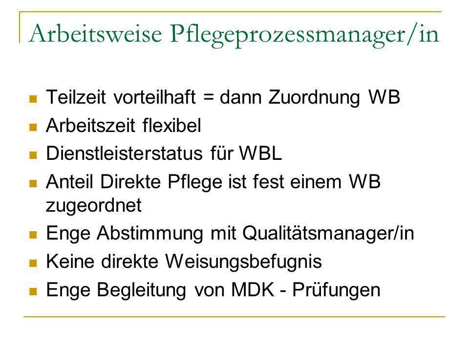 Arbeitsweise Pflegeprozessmanager/in Teilzeit vorteilhaft = dann Zuordnung WB Arbeitszeit flexibel Dienstleisterstatus für WBL Anteil Direkte Pflege i