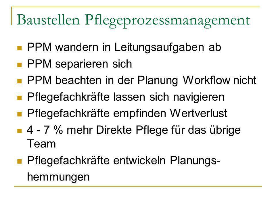 Baustellen Pflegeprozessmanagement PPM wandern in Leitungsaufgaben ab PPM separieren sich PPM beachten in der Planung Workflow nicht Pflegefachkräfte
