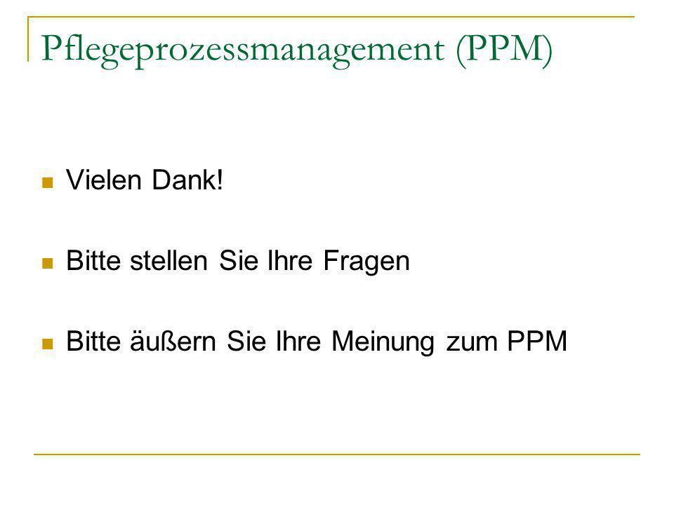Pflegeprozessmanagement (PPM) Vielen Dank! Bitte stellen Sie Ihre Fragen Bitte äußern Sie Ihre Meinung zum PPM