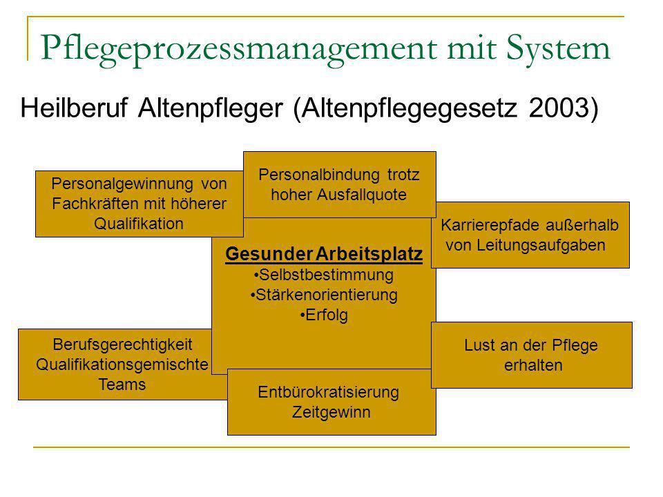 Pflegeprozessmanagement mit System Heilberuf Altenpfleger (Altenpflegegesetz 2003) Berufsgerechtigkeit Qualifikationsgemischte Teams Gesunder Arbeitsp