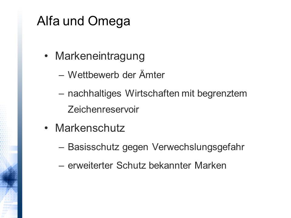 Alfa und Omega Markeneintragung –Wettbewerb der Ämter –nachhaltiges Wirtschaften mit begrenztem Zeichenreservoir Markenschutz –Basisschutz gegen Verwechslungsgefahr –erweiterter Schutz bekannter Marken